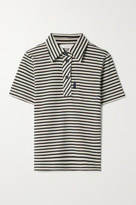See by Chloe Striped Ribbed Cotton Polo Shirt - Cream