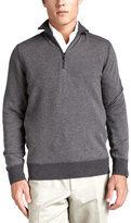 Loro Piana Roadster Half-Zip Cashmere Sweater, Gray