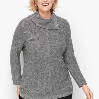 Talbots Chevron Stitch Split Neck Sweater - Marled