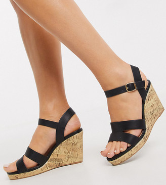New Look Wide Fit strappy wedges in black