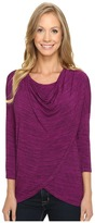 Mod-o-doc Space Dye Rayon Spandex Jersey Cowl Neck Crossover Tee