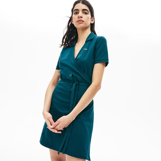Lacoste Women's LIVE Wrap-Front Stretch Pique Polo Dress