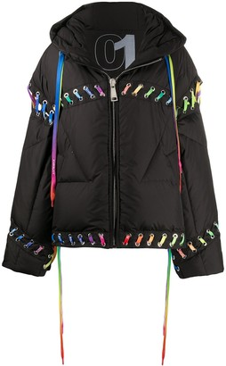 KHRISJOY Contrasting Lace-Up Puffer Jacket