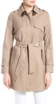 Women's Cole Haan Signature Faux Leather Trim Trench Coat