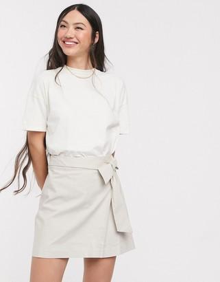 Asos DESIGN linen wrap mini skirt
