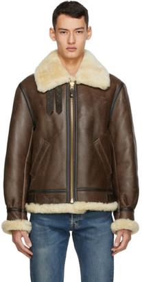 Schott Brown Sheepskin and Fur B-3 Jacket