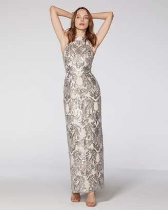 Vince Camuto Sequin-pattern Halter Gown