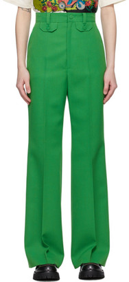 Gucci Green Wool Flare Trousers