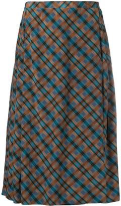 Yves Saint Laurent Pre-Owned Plaid Pleated Skirt