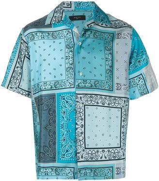 Amiri Short Sleeve Bandana Print Silk Shirt