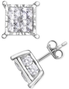 TruMiracle Diamond Princess Cluster Stud Earrings (3 ct. t.w.) in 14K White Gold