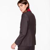 Paul Smith Women's Navy And Burgundy Check Wool Blazer