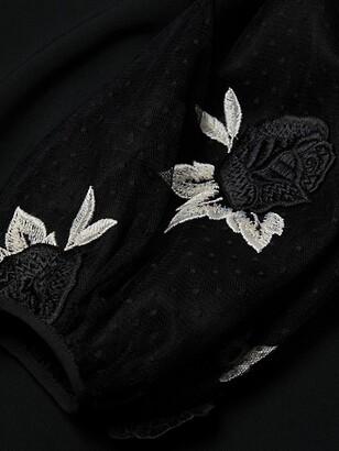 Lela Rose Rose Embroidered Tulle Full Sleeve Tunic Dress