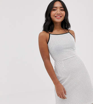 Glamorous Petite cami mini dress with palm embroidery in spot print-Cream