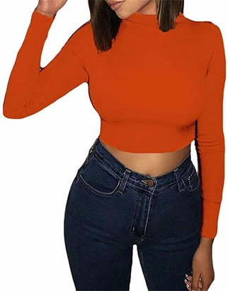 Artfish Ladies Long Sleeve Stretchy Crop Top Sexy Slim Fitted Shirts White L