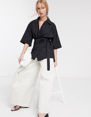 Topshop poplin wrap shirt in black