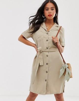 Pieces utility mini dress with tie waist