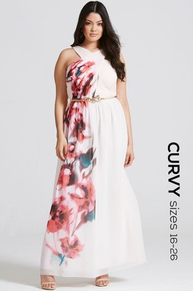 Little Mistress Curvy Blur Print Crossover Front Maxi dress
