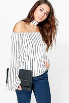 boohoo Kinsley Choker Striped Bardot Top