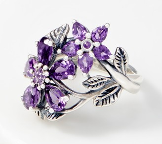 Or Paz Sterling Silver Gemstone Flowers Ring
