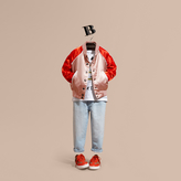 Burberry Satin Bomber Jacket with Embroidered Decorative Lettering Motif