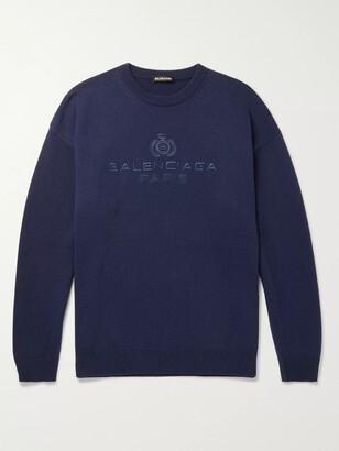 Balenciaga Logo-Embroidered Cashmere Sweater
