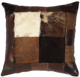 Wooded River Patch Leather Hair on Hide Pillow, 16x16 with Fabric Back