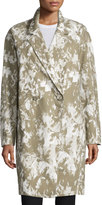 Jason Wu Double-Breasted Printed Long Coat, Army/Multi