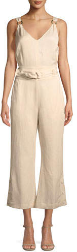 Derek Lam 10 Crosby Sleeveless Belted Flared-Leg Jumpsuit