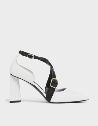 Charles & Keith Two-Tone Buckle Detail Criss Cross Block Heel Pumps