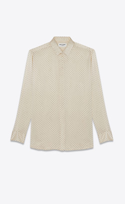 Saint Laurent Tops And Blouses Shirt In Silk Satin With Studs Bronze Chalk 10