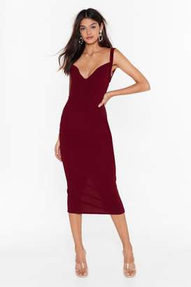 Nasty Gal Womens Feelings Run Deep Plunge Midi Dress - black - 4