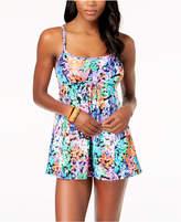 Swim Solutions Dream Garden Tummy-Control Swimdress, Created for Macy' Women's Swimsuit