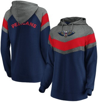 Women's Fanatics Branded Gray/Navy New Orleans Pelicans True Classics Go All Out Chevron Pullover Hoodie