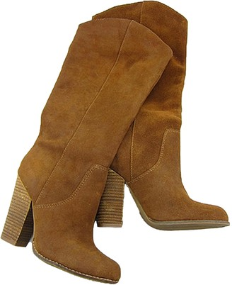 Goodnight Macaroon 'Beatrice' Brown Suede Mid-length Heeled Boots