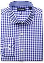 Nautica Men's Regular Fit Gingham Cutaway Collar Dress Shirt