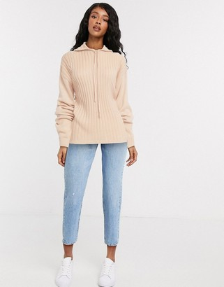 In The Style x Lorna Luxe lullaby ribbed hoody two-piece in blush