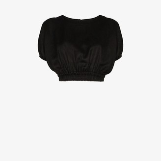 Matteau Cropped Ruched Linen Top