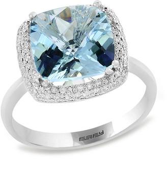 Effy 14K Diamond & Aquamarine Ring