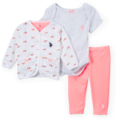 U.S. Polo Assn. Baby Pink Cardigan, Leggings & Bodysuit - Set of Three