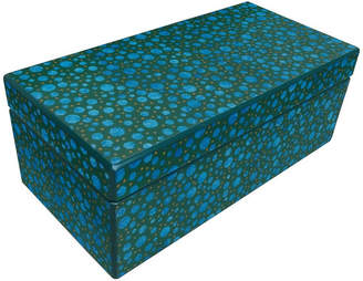 Arcadia Home Reverse Painted Mirror Box in Blue and Green Dots, Large, Large