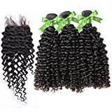 GoldRose Hair Grade 5A Brazilian Curly Wave 3 Bundles 24''24''24'' With Closure Free Part 18'',Curly Wave Brazilian Virgin Hair With 4*4 Lace Closure,100%Unprocessed Virgin Human Curly Weave Hair Bundles