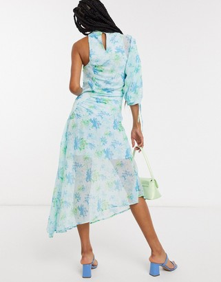 Lost Ink one shoulder midaxi dress with ruching in vintage floral
