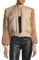 KENDALL + KYLIE Faux-Fur Zip-Front Bomber Jacket