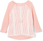 Beautees Coral Lace-Front Tee & Necklace - Girls