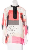 Magaschoni Embellished Abstract Print Top