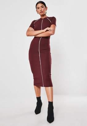 Missguided Rib Contrast Piping Short Sleeve Midi Dress