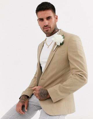 Asos Design DESIGN wedding super skinny blazer in camel tonal check-Beige