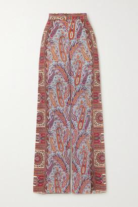 Etro Paisley-print Silk Crepe De Chine Wide-leg Pants - Light blue