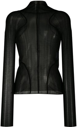 Thierry Mugler Mock Neck Sheer Top